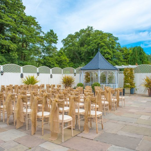 Outdoor wedding venue area with chairs in sussex