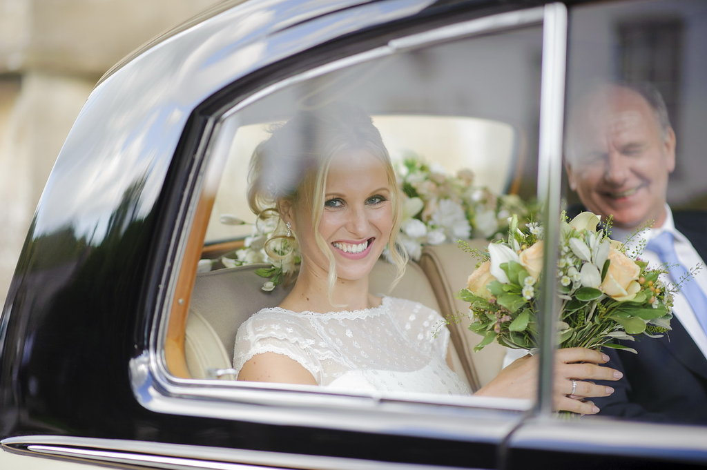 Bride on way to the church with father