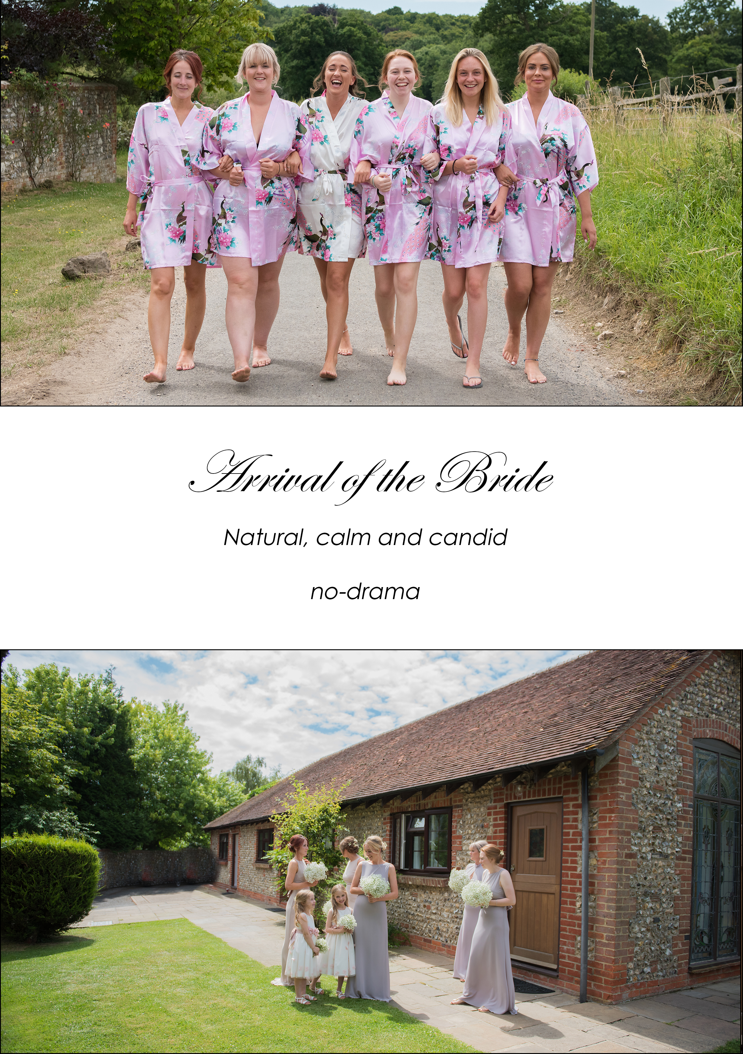 bride with her bridesmaids in matching floral pink silk dressing gowns walking up the road at selden barns wedding venue by ali gaudion wedding photographer