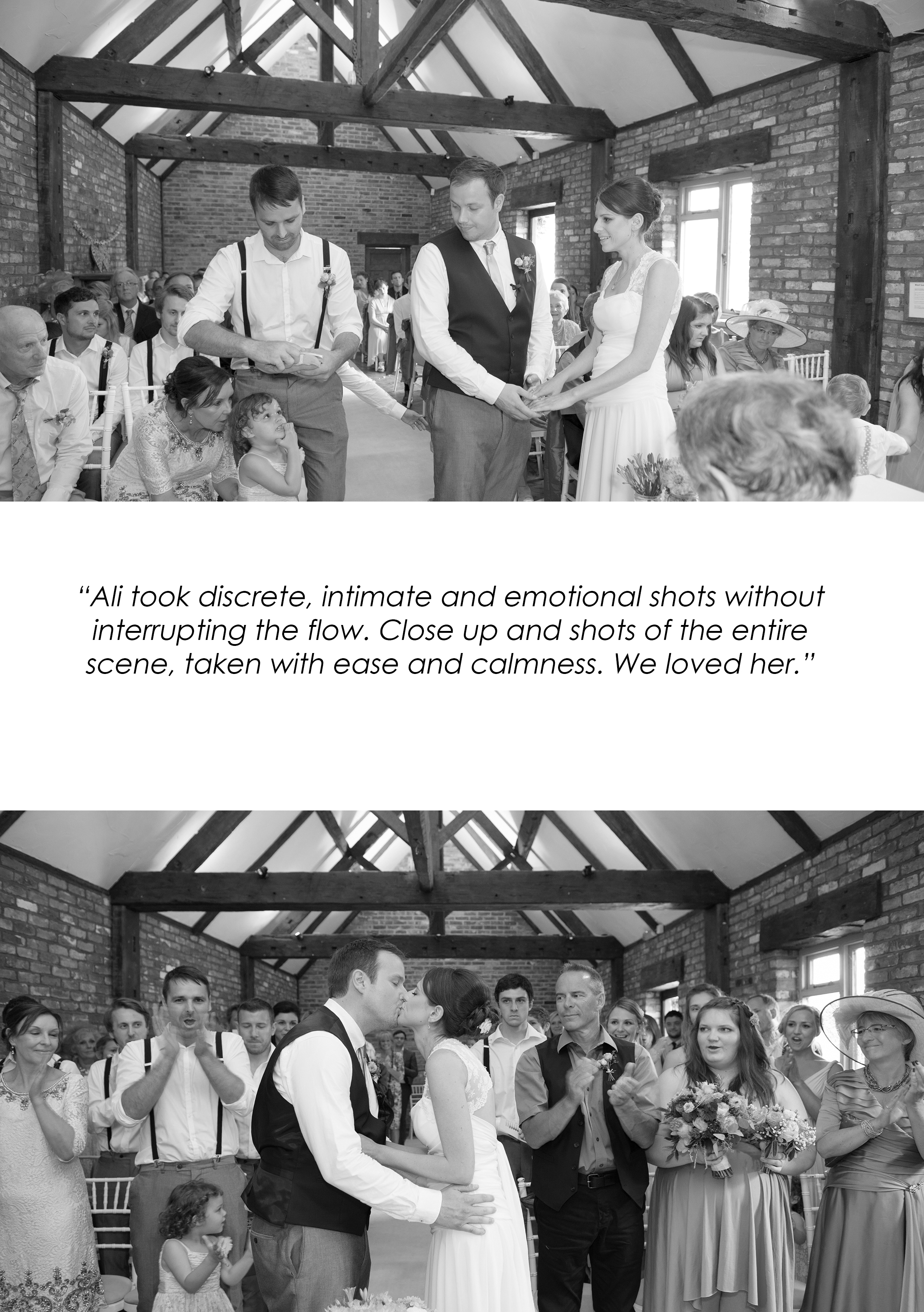 hot summer wedding ceremony in barn in worthing