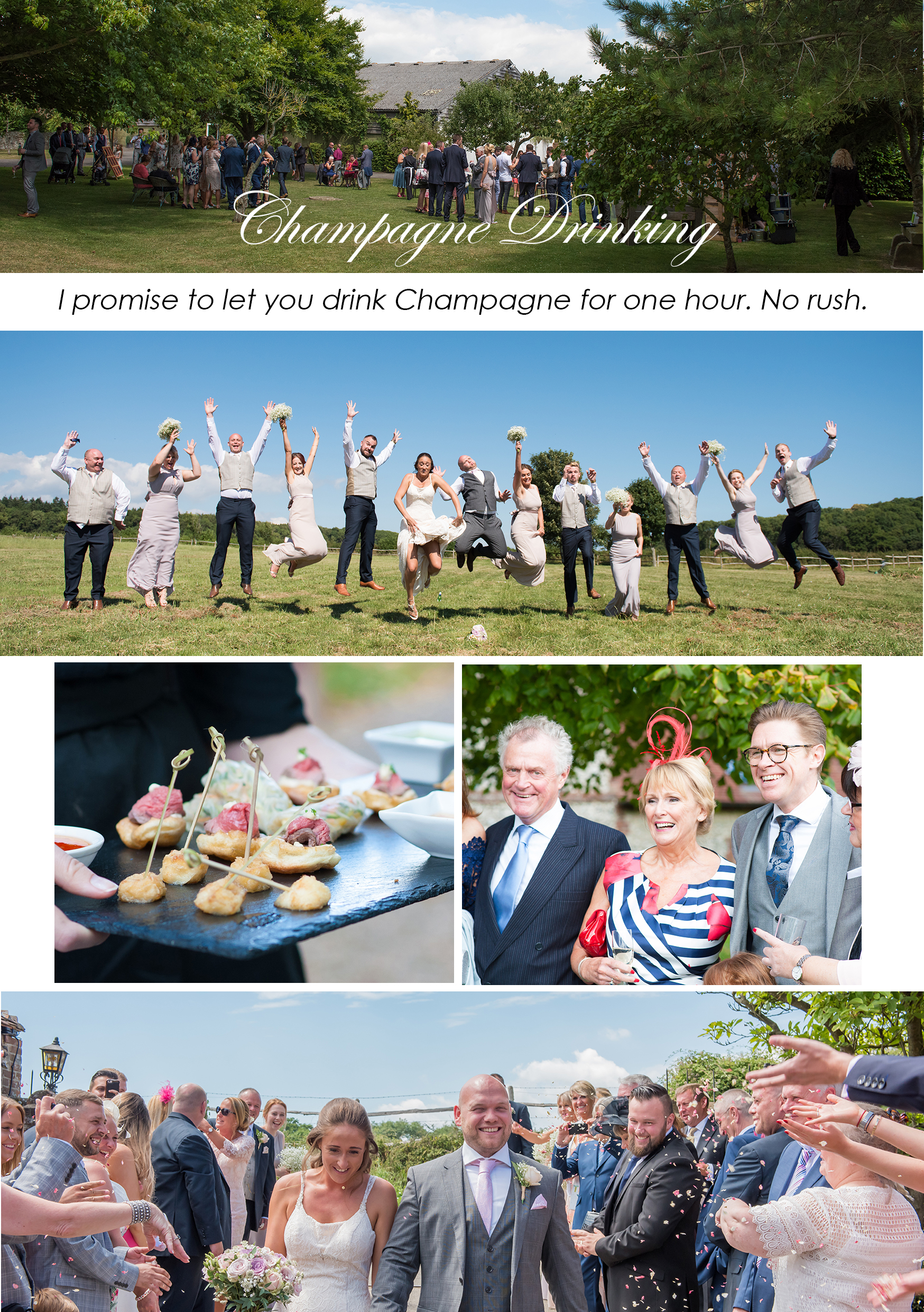 wedding photos of bridal party jumping in the air in west sussex