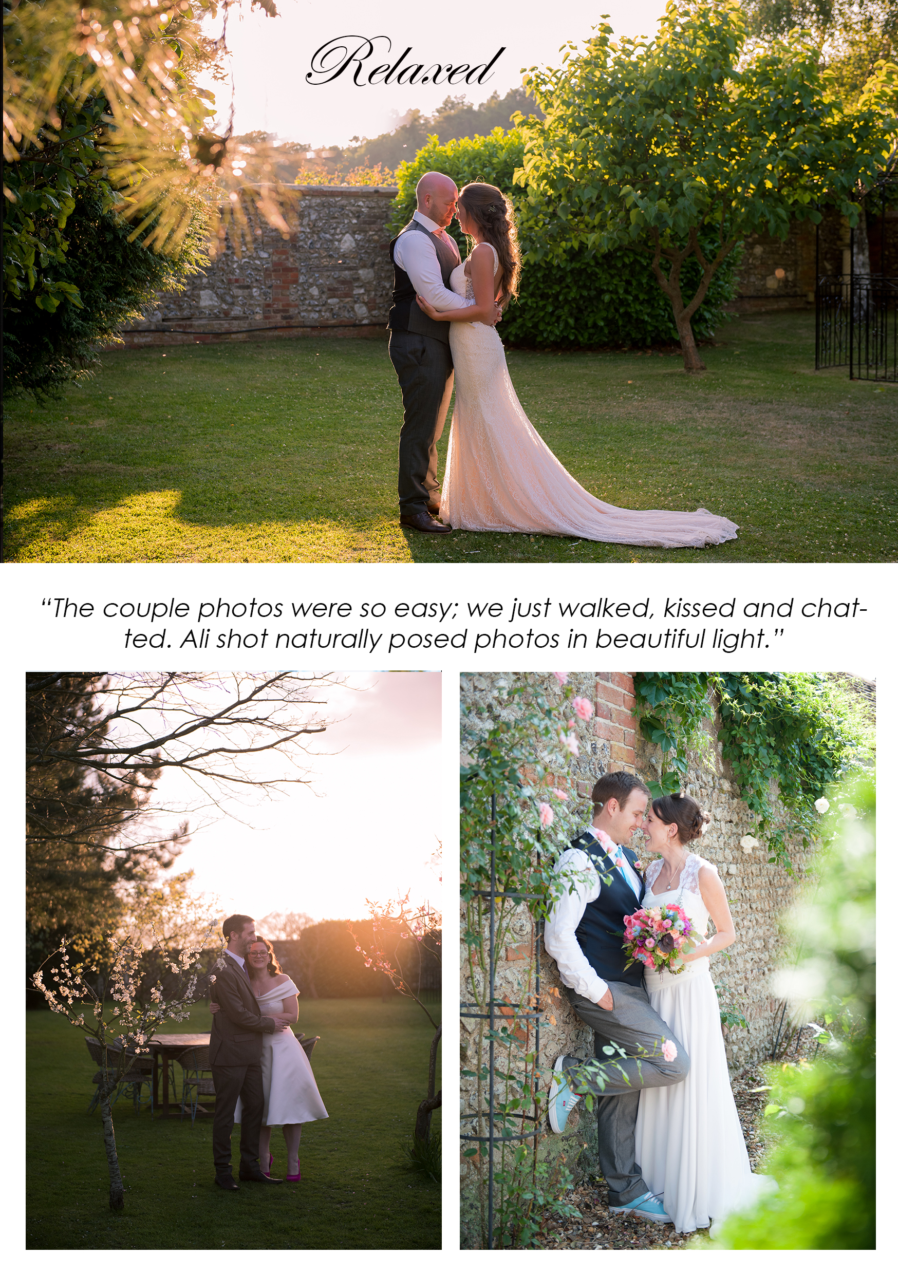 bridal couple in an orchard at sunset in west sussex selden barns wedding venue kissing golden hour