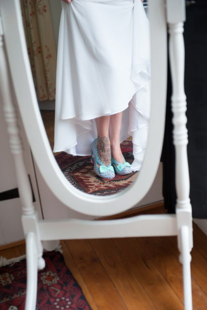 tattoo foot with funky bride shoes at selden barns