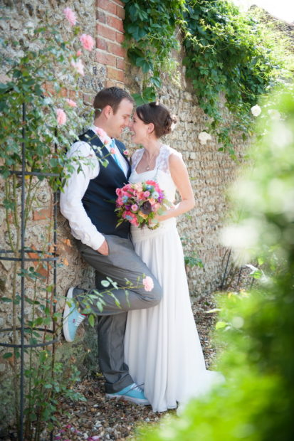 romantic couples shots in the roses at selden barns wedding venue west sussex