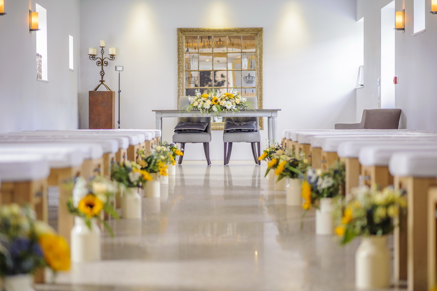 wedding venue photography with sunflowers in chichester