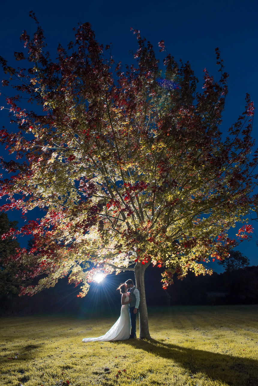 striking evening photography of bride and groom in chichester